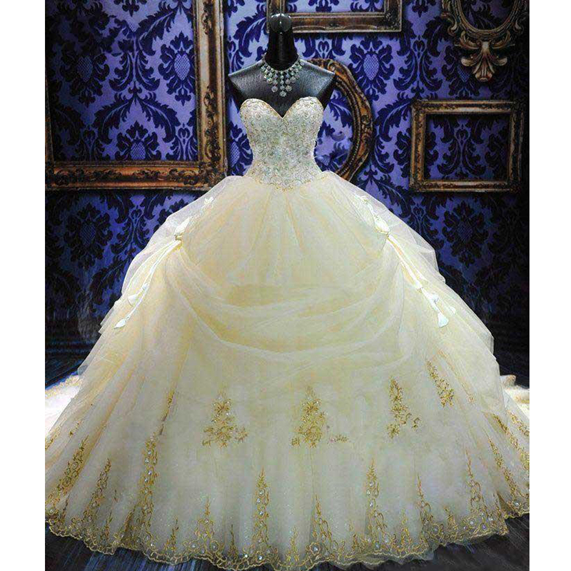 Royal Train Ball Gown Wedding Dress With Embroidery Beaded
