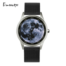 2019 Enmex design wristwatch 3D moon creative design stainless steel case Oil Painting face clock fashion quartz clock watch 2019 enmex design wristwatch 3d moon creative design stainless steel case oil painting face clock fashion quartz clock watch