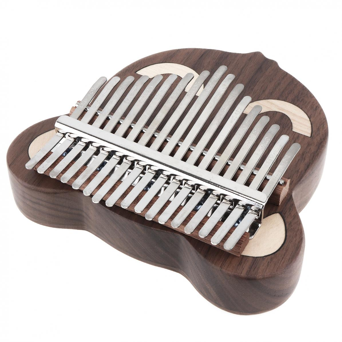 17 Key Thumb Piano Kalimba Hele Single Board Kat/Bear Gezicht Walnoot Mbira Calimba met Tuning Hamer Hout Muzikale instrumenten - 5