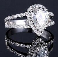 Calidad Superior 990 de plata esterlina boda Anillos para las mujeres pera forma CZ Diamant dos bandas anillo de compromiso regalo de joyería zr023