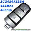 3C0959752BA 433 Mhz 48 chip smart card auto 3CO 959 752 BA chave do carro chave inteligente para VW Magotan Passat CC inteligente chave
