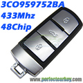 3C0959752BA 433Mhz 48chip auto smart card 3CO 959 752 BA car key smart key for VW Magotan Passat CC smart key