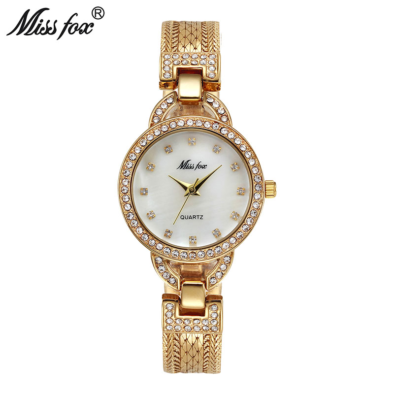 Miss Fox Woman Small Watch Cute Pearl Shell C Luxury Women Gold Watches Fashion Steel Mesh Rhinestone Sweet Style Quartz Watch