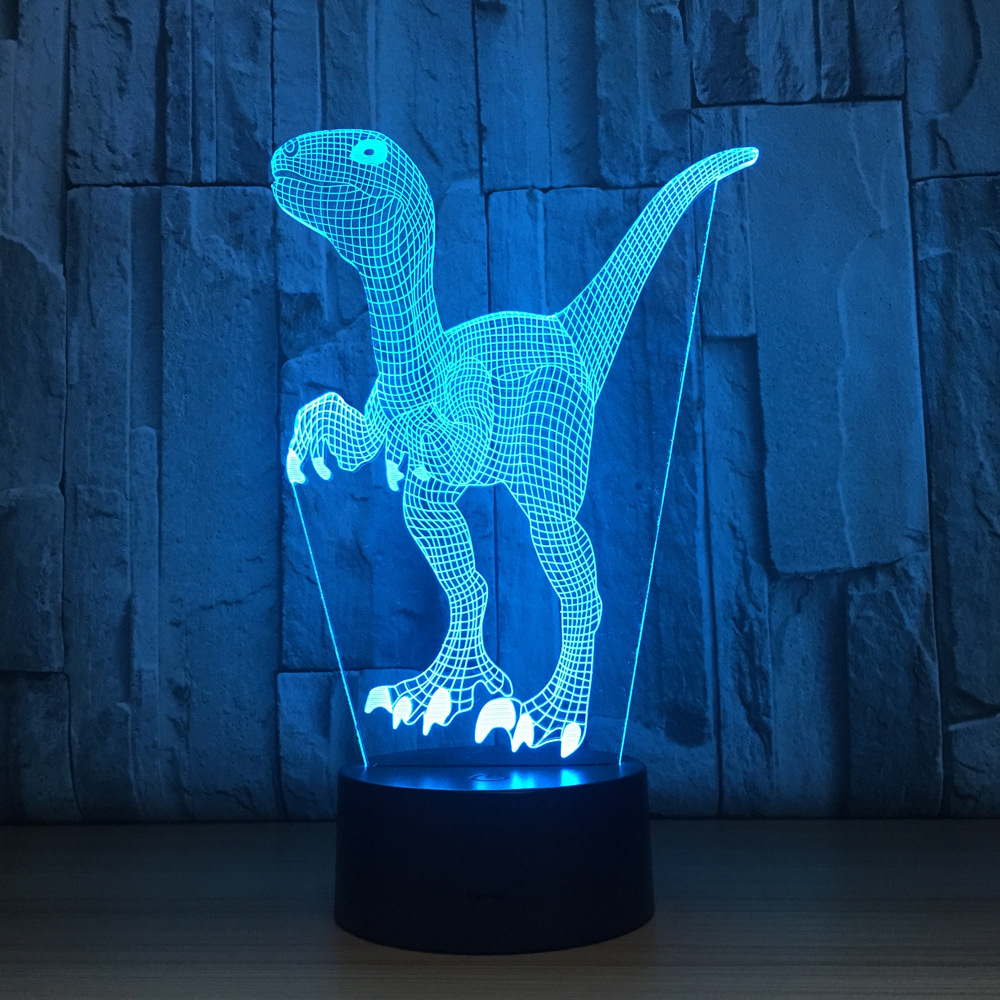 Touch Switch LED Desk Light Night Light Colorful USB Table Acrylic Lamp 3D Illusion Dinosaur Home Decor Kids Gift Free Drop Ship 3d led night light gear love heart usb touch switch steampunk style heart table lamp luminaria de mesa home decor gift toy