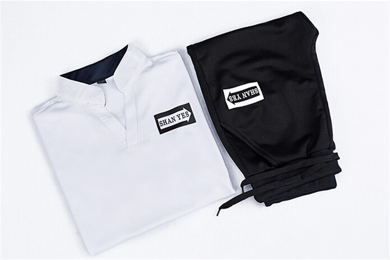 2 Pieces T-shirt Shorts Tracksuit Sport suits Set Men 2018 Brand Fitness Suits Summer 2PC Top Short Set Mens Stand Collar Fashion 7