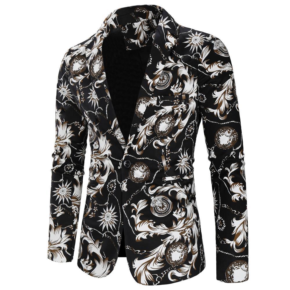 Мужской Блейзер Куртка хлопково льняные, с цветочным принтом с Повседневное одна кнопка смокинги мужские костюмы, блейзеры для Для мужчин