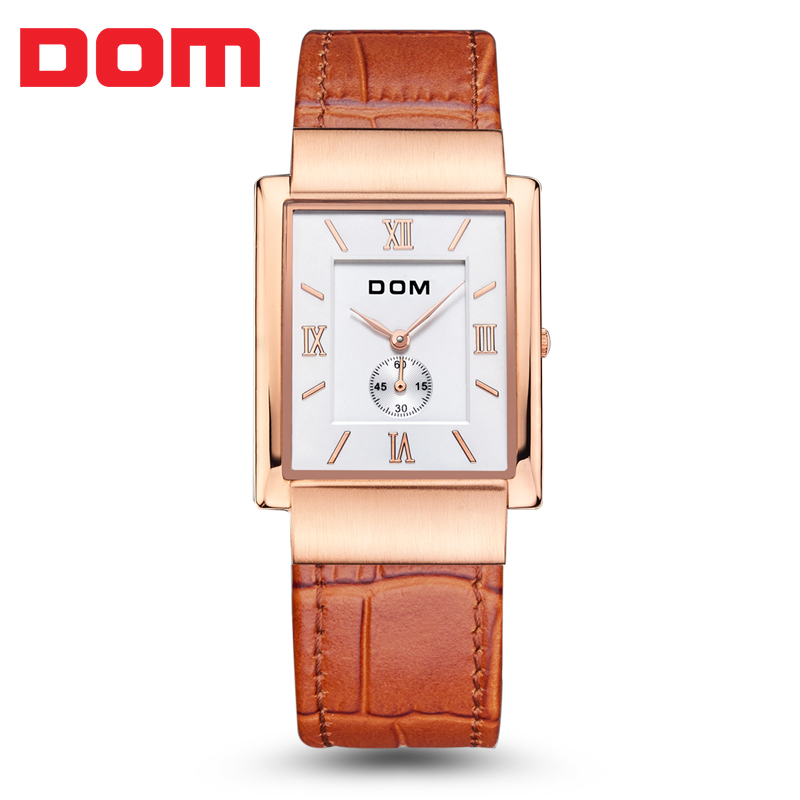 DOM brand Top Luxury Brand Couple Watches For Lovers Genuine Leather Strap Quartz-Watch Fashion Men Women Pair Watches Best Gift