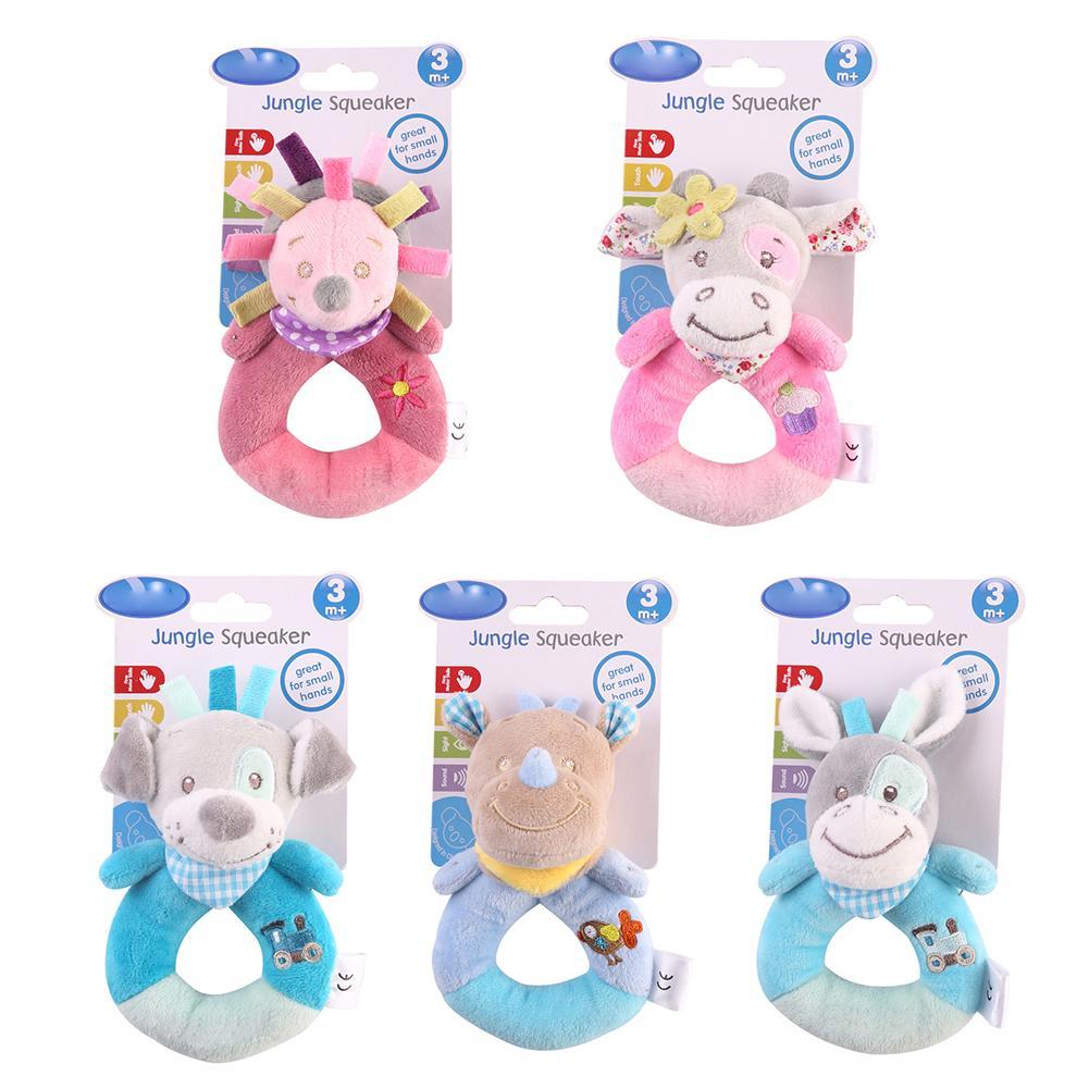 Baby Plush Toy Ring Bell Baby Plush Rattle Whistle Cute Cartoon Dog / Hedgehog/ Rhinoceros / Donkey/ Cattle Baby Toy