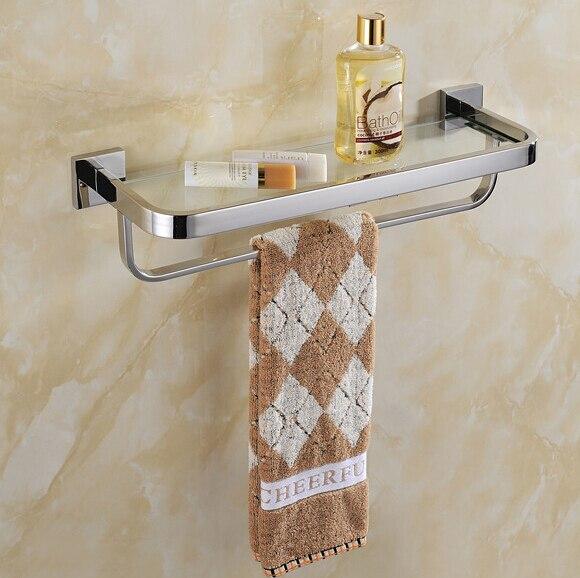 30cm Stainless steel 304 bathroom glass shelf with towel rack bath ...