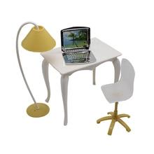 Mini Simulate Desk Lamp Chair Laptop Set Toys For Dolls Miniature Furniture Dollhouse Accessories Girls Childhood Games