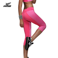 HTLD Hot Patchwork Fitness Broek Vrouwen Workout Broek Skinny Capri Broek Joggers Leggings Reflecterende Zip packet Broek