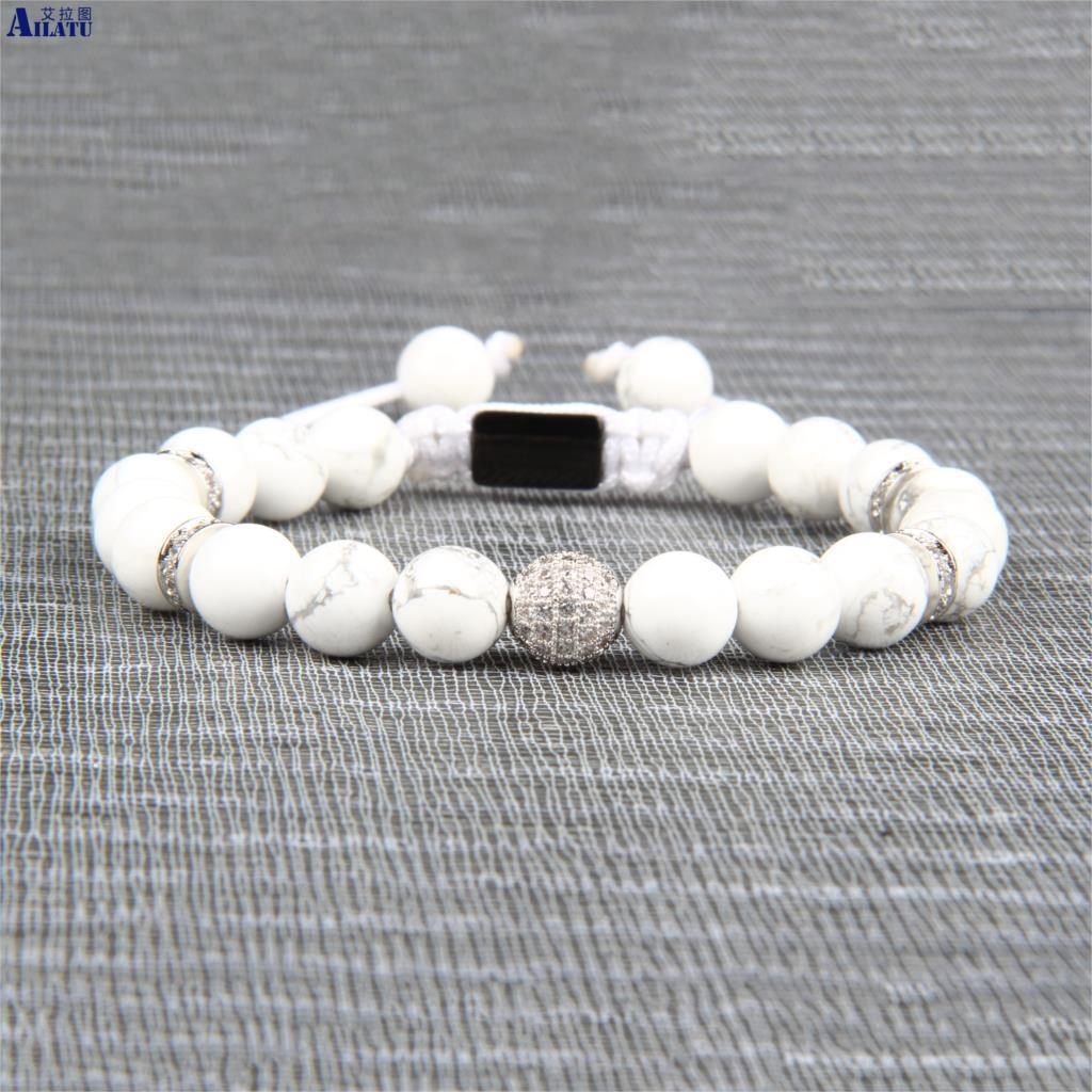 Bracelet en macramé Cz noir et blanc Ailatu avec Lapis Lazuli naturel de 8mm et pierre blanche Howlite de qualité supérieure-in Bracelets ficelle from Bijoux et Accessoires    2