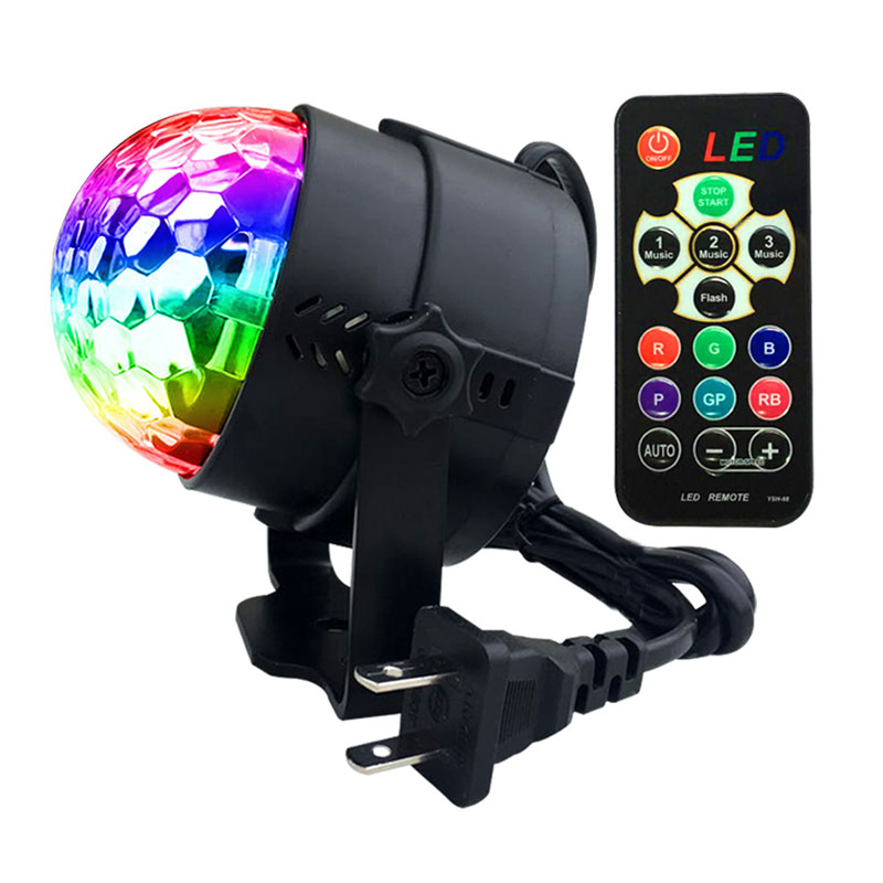 ysh mini bola de discoteca luz interior led dj festa luzes 3 w controle remoto luz