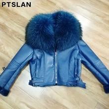 Women s Real Leather Jacket Coat Winter Warm Lambs Raccoon Fur Collar Genuine Jackets Shearling Coats