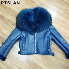 Women's Real  Leather  Jacket Coat Winter Warm Lambs Raccoon Fur Collar Genuine Jackets Shearling Coats Women