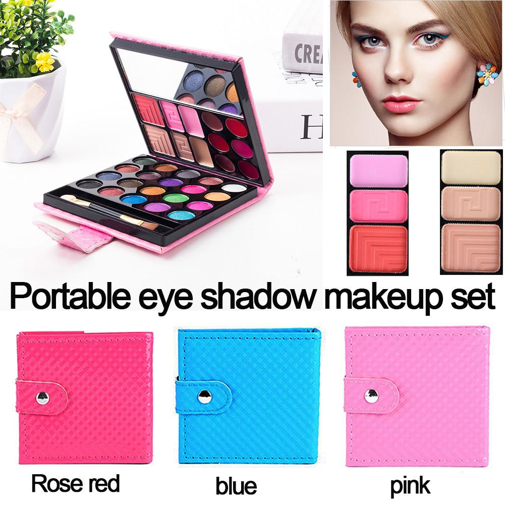 Beauty & Health 32 Color Portable Wallet Type Eyeshadow Tray Leather Eye Shadow Pearl Combination Eye Shadow Stick Lip Brush Makeup Mirror Blush
