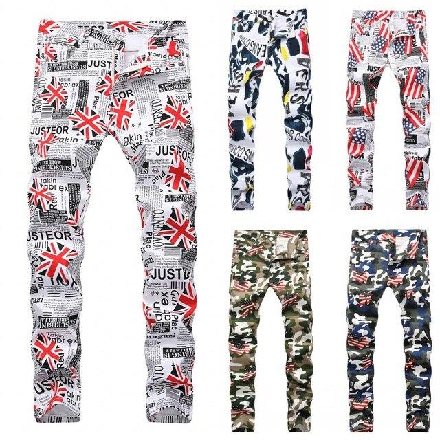 18bea72776 Men's Camouflage UK USA Flag Print Jeans Men Slim Skinny Printed Biker Jeans  Casual Hip Hop Denim Pants Drop Shipping 13 colors