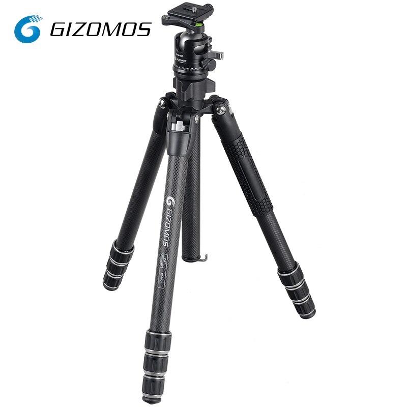 GIZOMOS GP-26C4 + GHA-35D Caméra Trépied Stable Pliant En Fiber De Carbone Trépied Rotule Kit Pour DSLR Appareil Photo Numérique tripode par mov