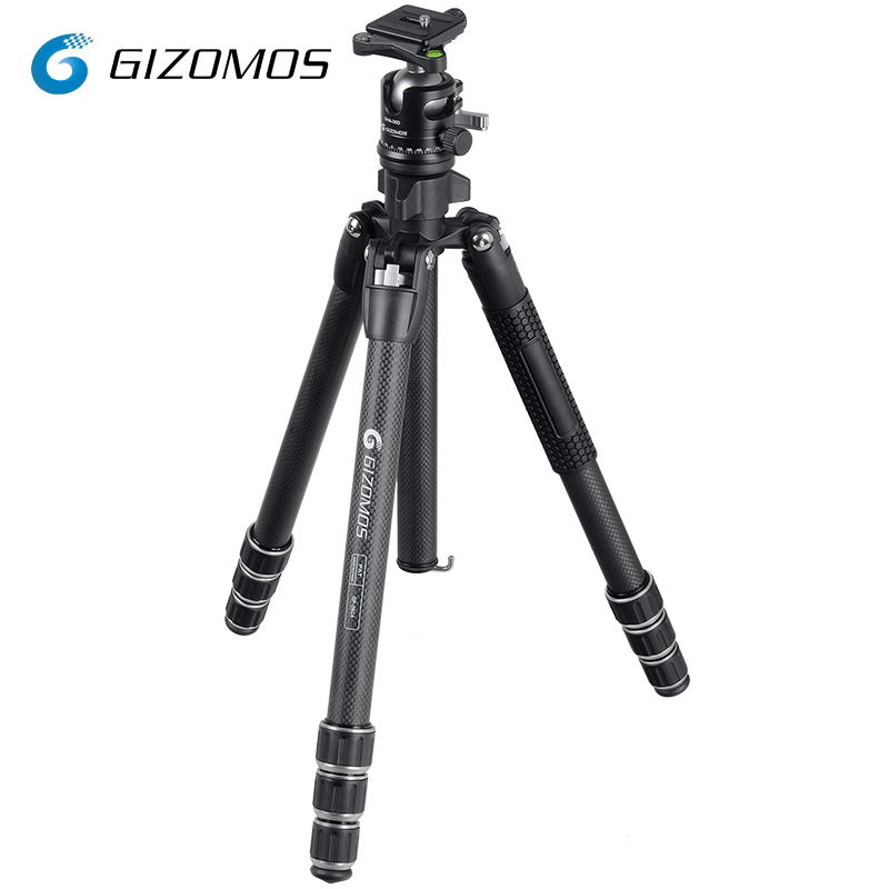 GIZOMOS GP-26C4 + GHA-35D trípode de cámara estable plegable trípode de fibra de carbono bola Kit de cámara Digital DSLR tripode para mov