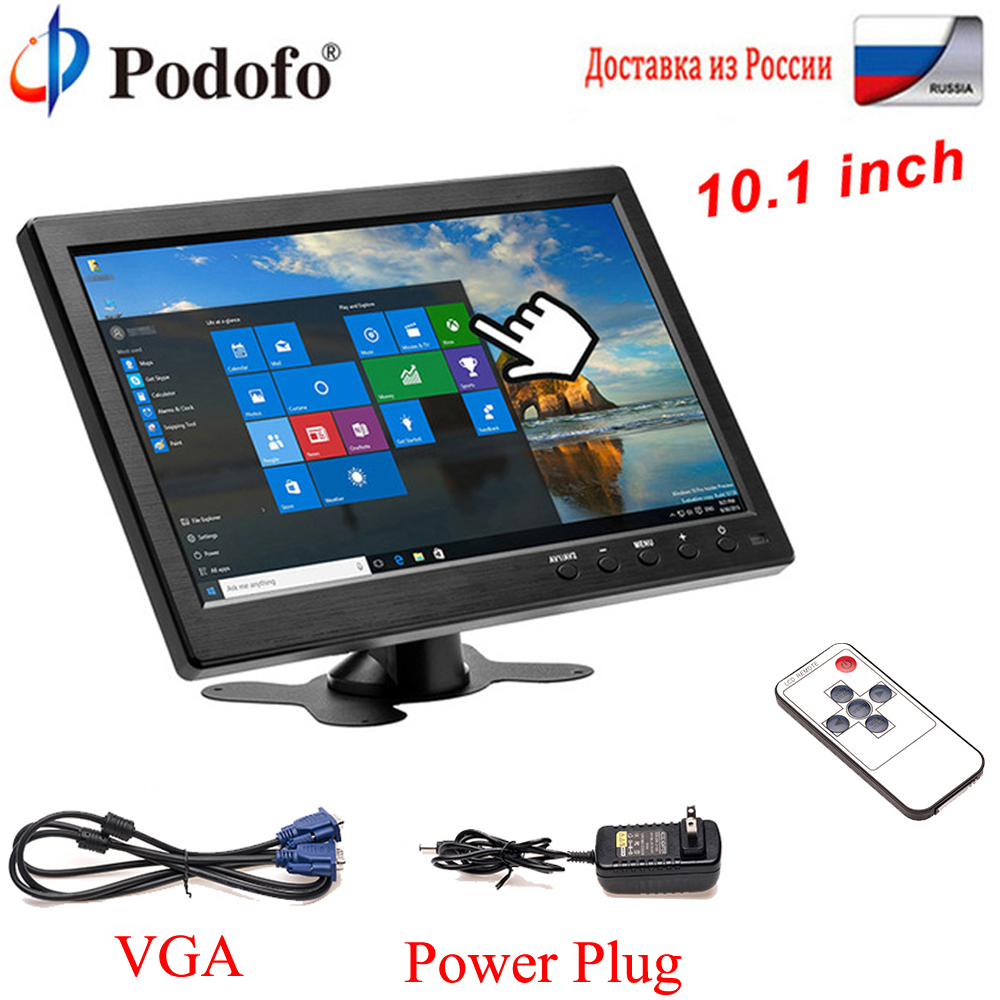 Podofo 10.1 LCD HD Car Headrest Monitor HDMI/VGA/AV/USB/SD TV&PC Display 2 Channel Video Input Security Monitor Remote Control