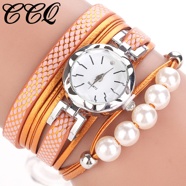 CCQ Women Fashion Casual Analog Quartz Women Rhinestone Pearl Bracelet Watch wom