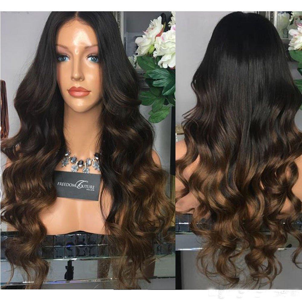 SimBeauty 100% Human Hair 360 Lace Wigs 1b/4/30 Three Tone Color Wavy Lace Front Human Hair Wigs Ombre Hair Wigs