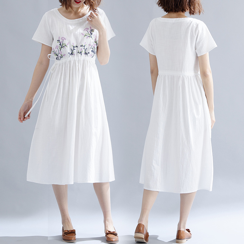Plus Size 5xl Embroidery White Dress Loose A line Summer Dress Large Big Robe Femme Sashes Casual Robes Femme Vestido De Festa