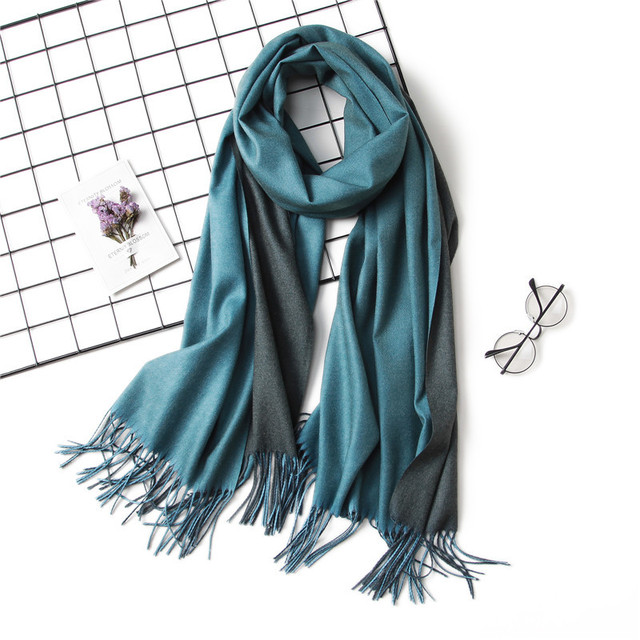 2018 winter women scarf fashion solid soft cashmere scarves for ladies pashmina shawls and wraps bandana female foulard Tassel 2