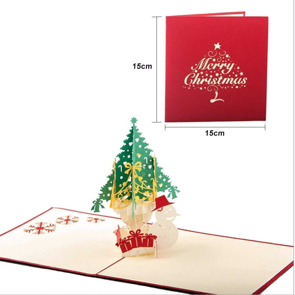 1pcs 3d Christmas Cards Greeting Handmade Paper Card Personalized