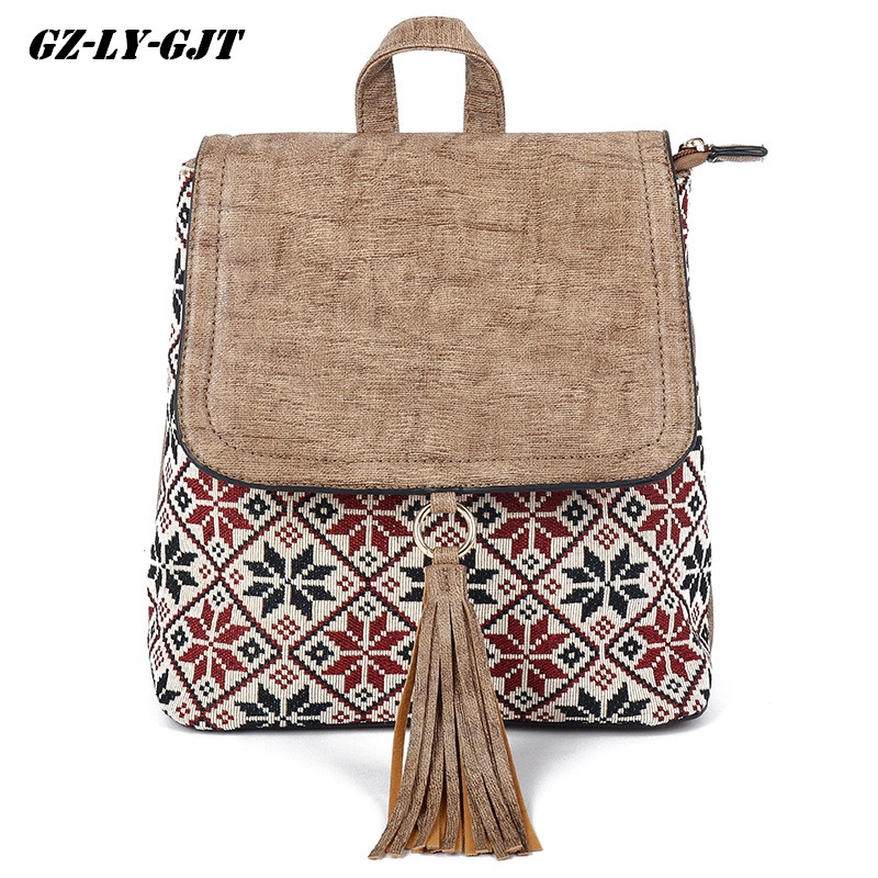 GZ-LY-GJT National Tassel Women Backpack Vintage Boho Leather School Bag For Teenager Brand Girl Cute Back Pack Student Backpack