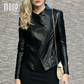 Black genuine leather jackets 100% sheepskin motorcycle jacket off-center zip placket veste en cuir femme jaqueta de couro LT948
