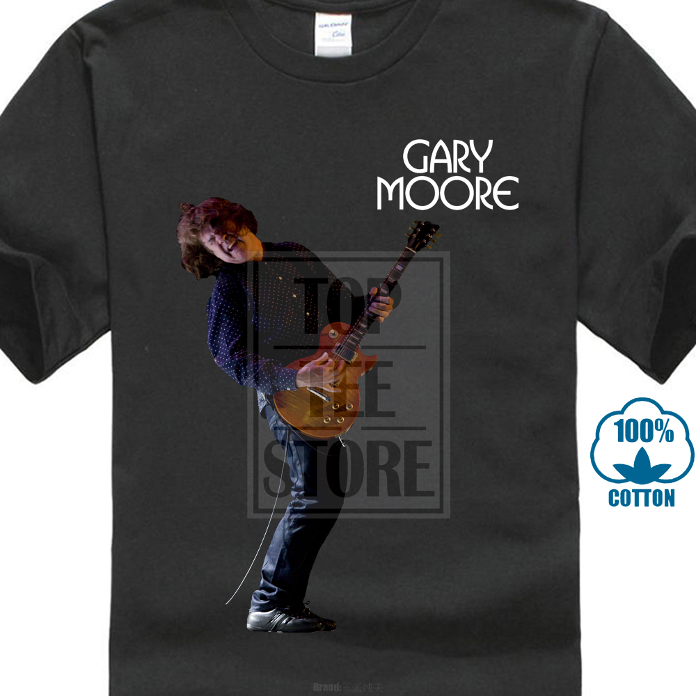 Gary Moore With Guitar Rock & Blues Guitarist Men'S Black T Shirt Size:S To 2Xl image