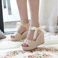 Sandálias das mulheres 2016 Verão Nova Cabeça de Peixe de Moda Do Dedo Do Pé Aberto plataforma De Salto Alto Sandálias de Cunha sapatos femininos mulheres sapatos Tamanho 35-40