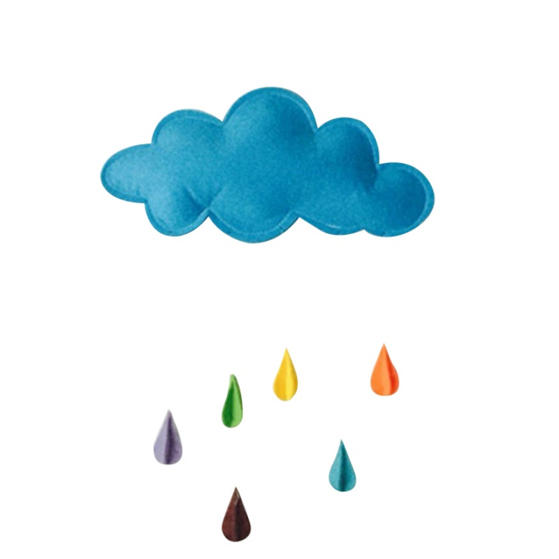 Children s Room Multi - color Ornaments Cute Clouds Rain Raindrops Moon Stars Fence Cloth Birthday Party Decorations