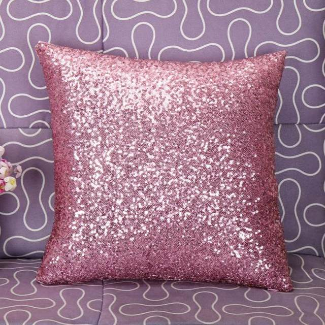Online Shop Solid Color Glitter Silver Sequins Bling Throw Pillow Classy Bling Decorative Pillows
