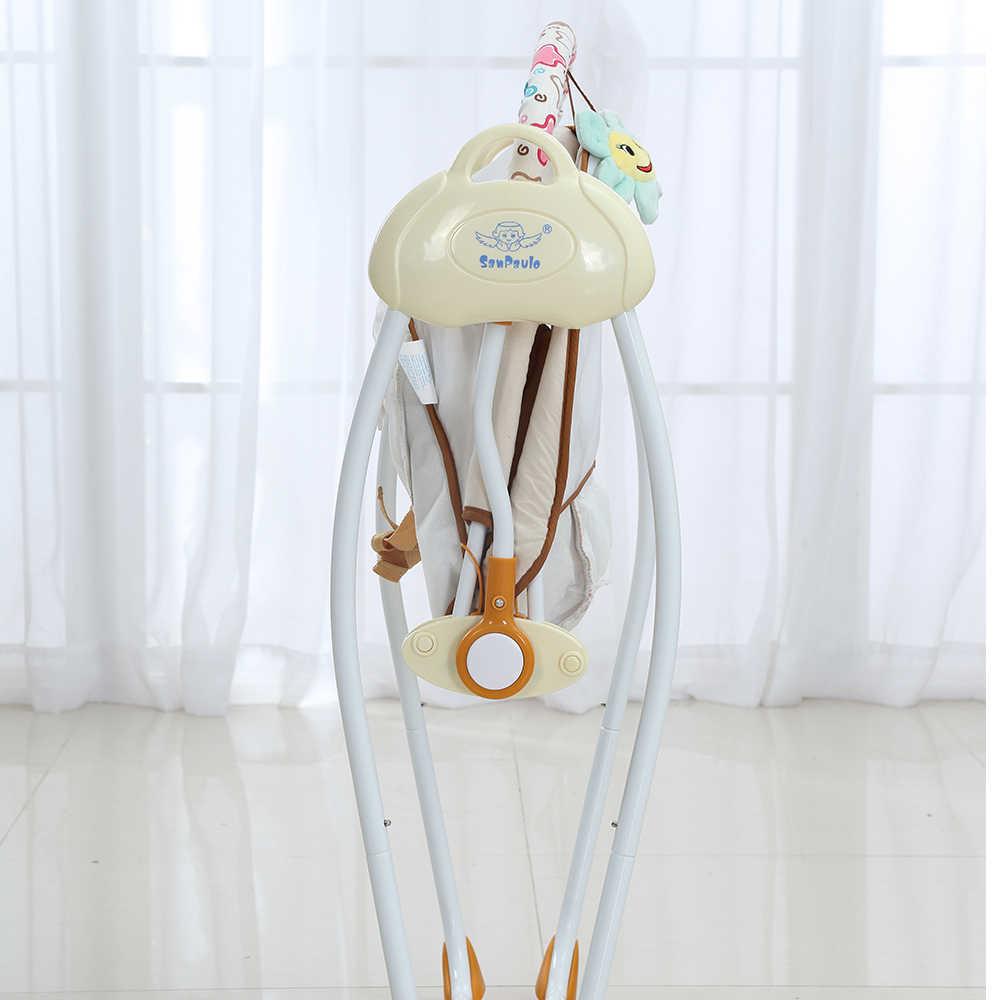 2018 модные детские качели электрические Детские колыбель-качели качалка пульт дистанционного управления стул спальная корзина-кровать кроватка для новорожденных