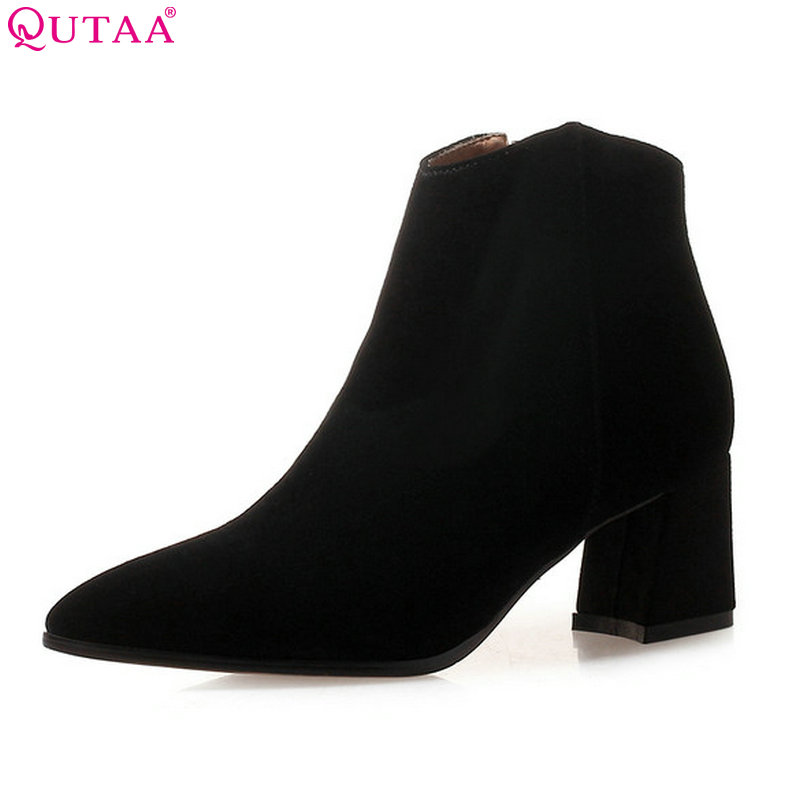 QUTAA 2019 Women Ankle Boots Platform Cow Suede All Match Square High Heel Zipper Winter Warm Boots Women Boots Big Size 34-39 qutaa 2019 winter boots women ankle boots all match platform zipper square high heel cow leather pu women boots big size 34 39