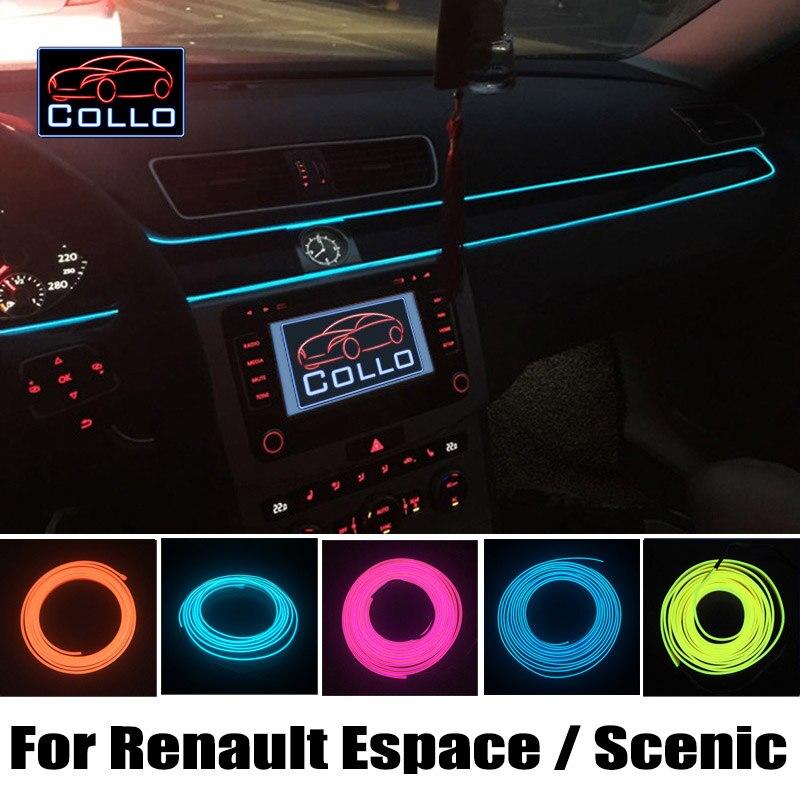 цена на For Renault Espace 3 4 5 / Grand Scenic 2 3 4 / Flexible Neon Cold Light / 9M EL Wire Car Central Control Desk Decorative Strip