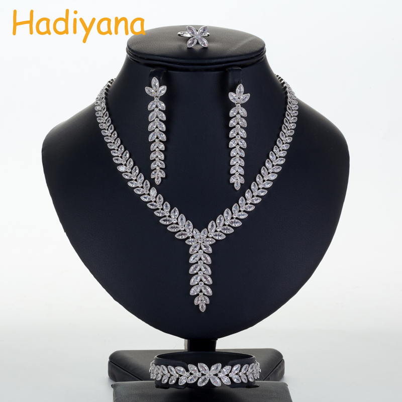 Hadiyana Luxury Bridal Wedding Jewelry Sets CZ Necklace Bracelet Earrings And Ring Women 4pc Jewelry Set Anniversary Party CN711 cwwzircons water drop royal blue cz necklace earrings ring and bracelet 4 piece wedding jewelry set for women bridal party t098