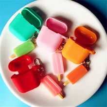 Cute Cartoon Ice cream Protective Cases Keychain pendant Accessories For Apple Airpods Air pods Earphone Protector Case Cover ice cream design keychain