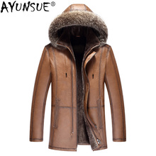 AYUNSUE Genuine Leather Jacket Men Cowhide Real Wool Fur Coat Mens Shearling Cow Leather Jackets Man