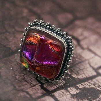 ae8d8a757747 49% antiguo hermoso Cristal Arco Iris 925 enorme hombres mujeres anillo  tamaño 10 envío libre