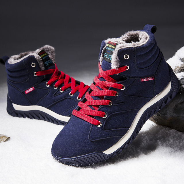 Men Shoes 2018 Winter Plush Snow Boots Comfortable Keep Warm Outdoor Sport Walking Boots Male Athletic Sneakers For Adult