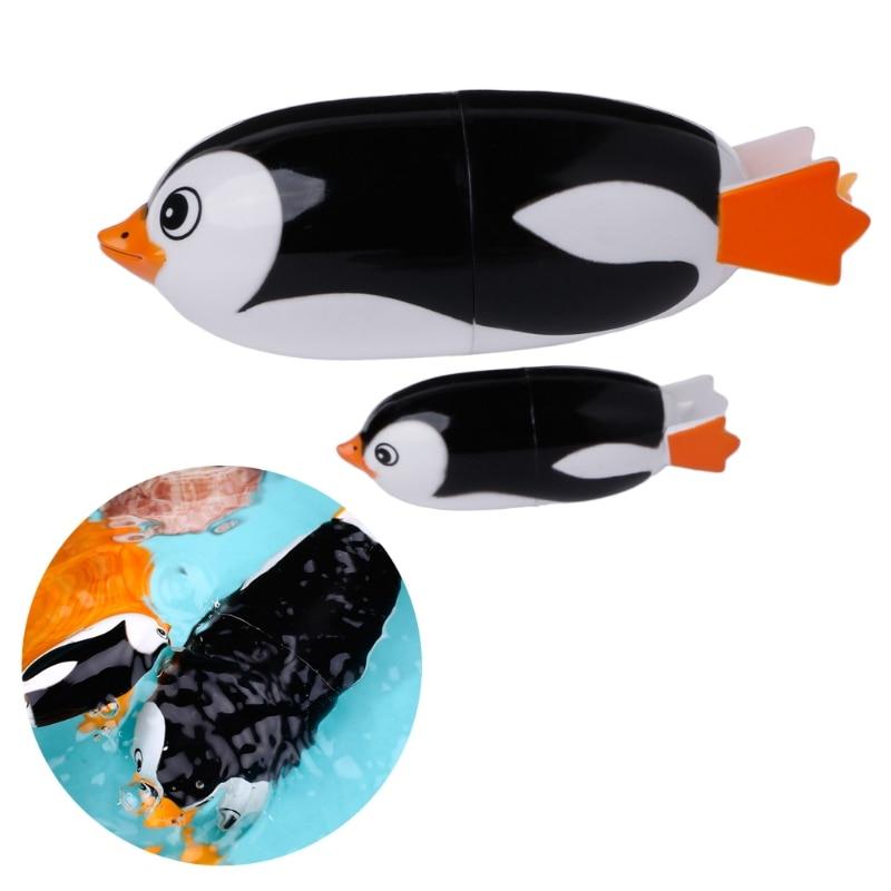 HBB 2pcs/set Baby Cartoon Toys Cute Electric Penguin Shape Kids Bath Animal Swiming Clock Dabbling Toy Baby Educational Toy