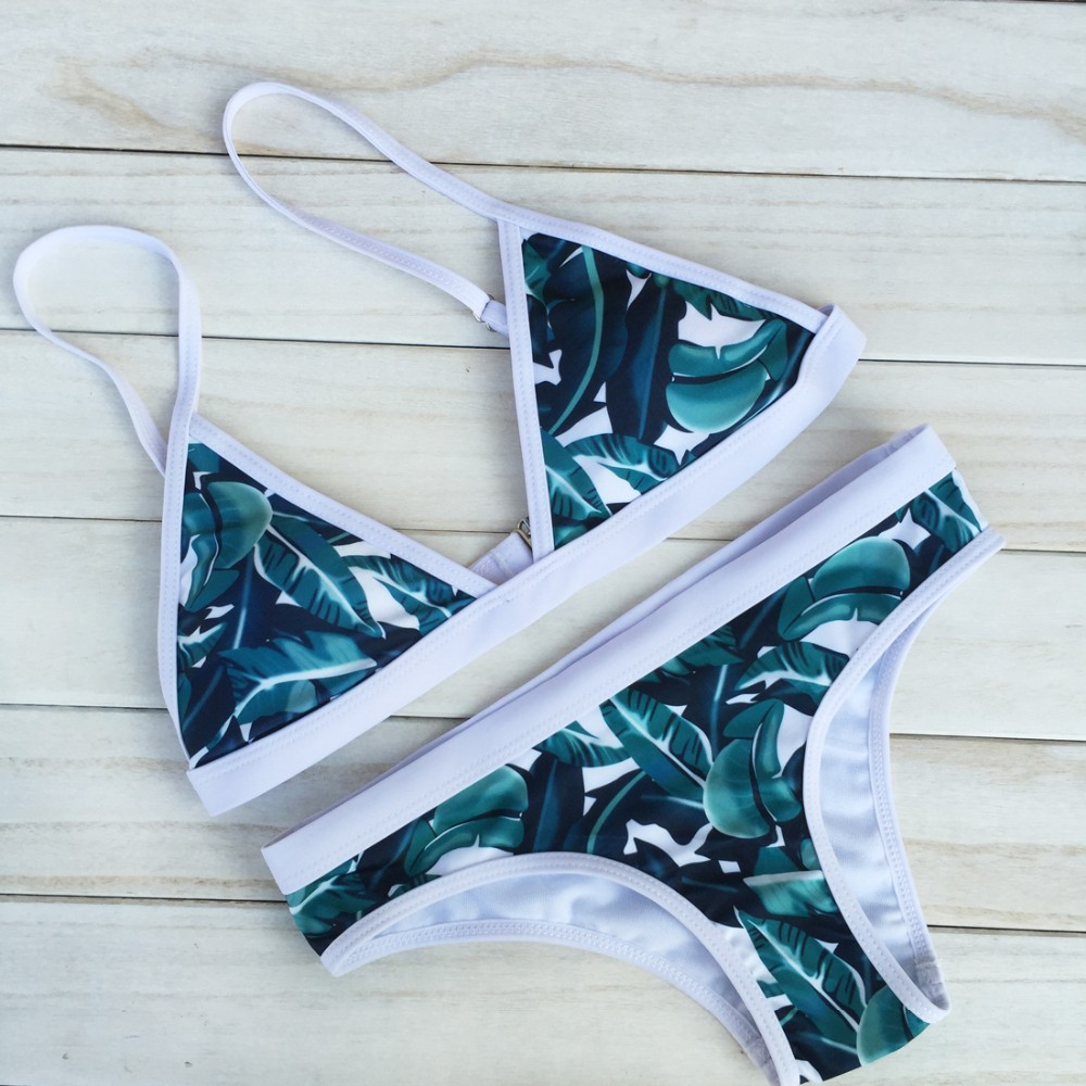 (10 pieces/lot) Hot Design Retro Style Simple Model Brazilian Sexy Printing Swimsuit Bikinis Halter Padded Biquinis Feminino