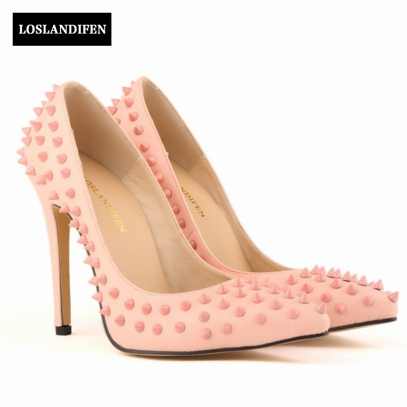 2017 European New Arrival Fashion Rivet Pointed Toe High Thin Heels Pumps Wedding Shoes Slip On Womens Footwear Zapatos Mujer slip on high quality women pumps sexy thin high heels colorful rivet shoes female fashion pumps pointed toe wedding party shoes