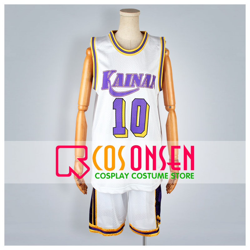 COSPLAYONSEN Slam Dunk Kainan University Affiliated High School Nobunaga Kiyota No.10 Cosplay Costume Sport Uniform White Color