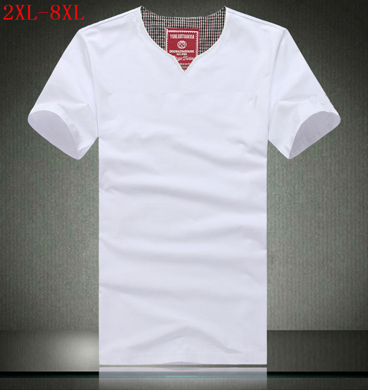 Brand 2017 summer men extra large v neck tops concise for Extra tall white t shirts
