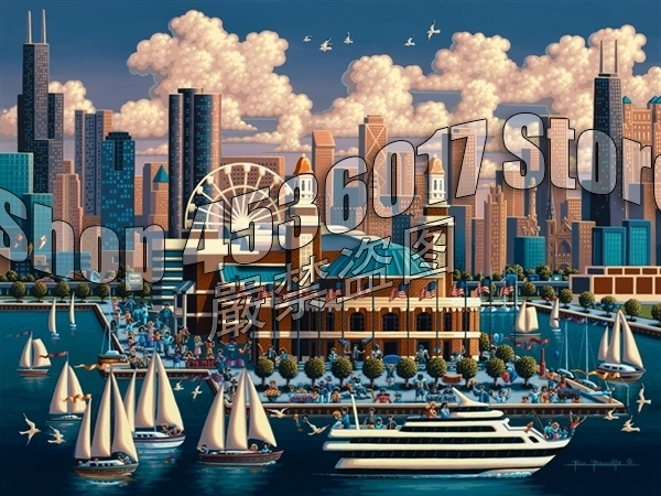 Us 1 0 5d Diy Diamond Embroidery Chicago Navy Pier Boats Diamond Mosaic Full Decoration Diamond Painting Kit Home Decor Gift Christmas In Diamond