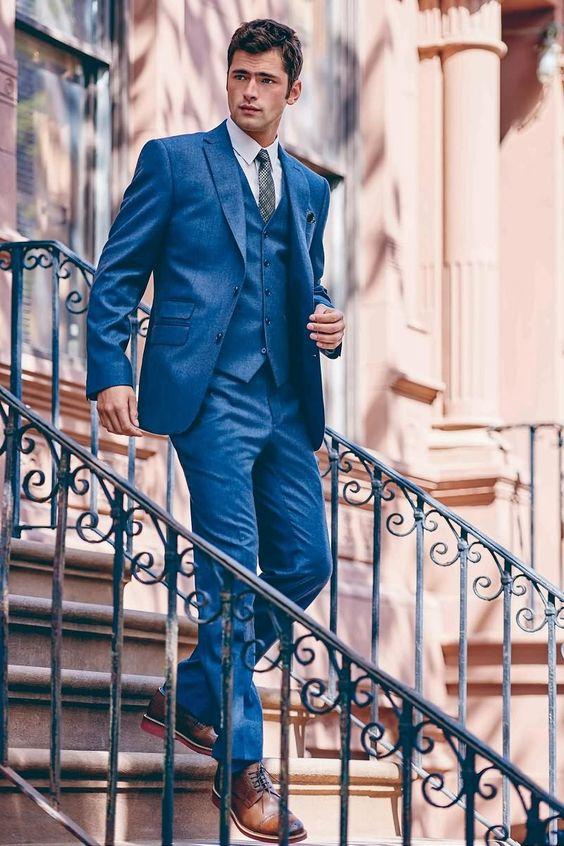 2017 New Arrival Designs Navy Blue Wedding Suits For Men Slim Fit Tuxedo 3 Piece Custom Groom Blazer Prom Suit Terno Masculino